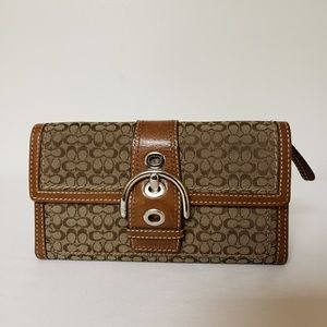 Coach Leather/Canvas Signature Wallet